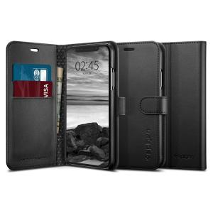 The slim Spigen iPhone XS Wallet S Case in black comes complete with a card slot, stand feature and is made with a luxurious faux leather material for a polished and professional look.