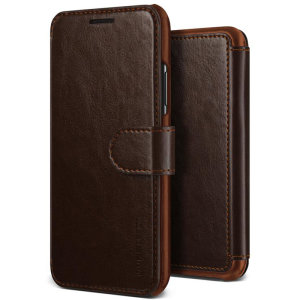 The VRS Design Dandy Wallet Case in dark brown for the iPhone XR comes complete with card slots, a large document pocket and is made with a luxurious leather-style material for a classic, prestige and professional look.