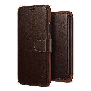 The VRS Design Dandy Wallet Case in dark brown for the iPhone XS Max comes complete with card slots, a large document pocket and is made with a luxurious leather-style material fo