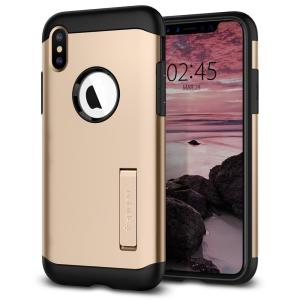 The Slim Armor case for the iPhone XS Max in gold has shock absorbing technology specifically incorporated to protect the device from impacts from any angle.