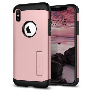 The Slim Armor case for the iPhone XS Max in rose gold has shock absorbing technology specifically incorporated to protect the device from impacts from any angle.