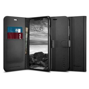 The slim Spigen iPhone XS Max Wallet S Case in black comes complete with a card slot, stand feature and is made with a luxurious faux leather material for a polished and professional look.