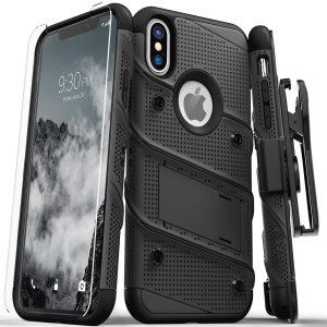Equip your Apple iPhone XS Max with military grade protection and superb functionality with the ultra-rugged Bolt case in black from Zizo. Coming complete with a handy belt clip and integrated kickstand.