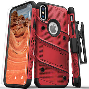 Equip your Apple iPhone XS Max with military grade protection and superb functionality with the ultra-rugged Bolt case in red / black from Zizo. Coming complete with a handy belt clip and integrated kickstand.