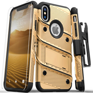 Equip your Apple iPhone XS Max with military grade protection and superb functionality with the ultra-rugged Bolt case in gold / black from Zizo. Coming complete with a handy belt clip and integrated kickstand.