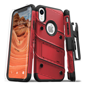 Equip your Apple iPhone XR with military grade protection and superb functionality with the ultra-rugged Bolt case in red / black from Zizo. Coming complete with a handy belt clip and integrated kickstand.
