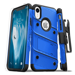 Equip your Apple iPhone XR with military grade protection and superb functionality with the ultra-rugged Bolt case in blue / black from Zizo. Coming complete with a handy belt clip and integrated kickstand.
