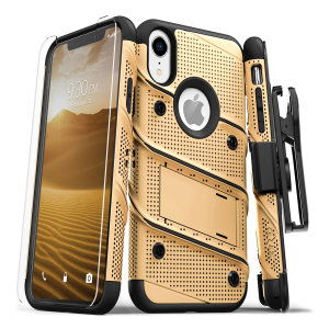 Equip your Apple iPhone XR with military grade protection and superb functionality with the ultra-rugged Bolt case in gold / black from Zizo. Coming complete with a handy belt clip and integrated kickstand.
