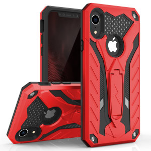 Equip your iPhone XR with military grade protection and superb functionality with the ultra-rugged Static case in red / black from Zizo. Coming complete with a handy kickstand for viewing media in both portrait and landscape.