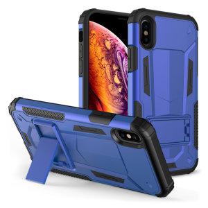 Schützen Sie Ihr iPhone XS Max vor Stößen und Kratzern mit dieser blau/schwarzen Zizo Hybrid Transformer Tasche. Das Zizo Hybrid Transformer Case besteht aus einem inneren TPU-Gehäuse und einer äußeren schlagfesten Hülle und bietet einen robusten Schutz für Ihr iPhone.
