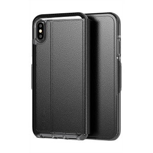 The Evo Wallet case by Tech21 carefully surrounds your iPhone XS Max with a slim-fitting see-through back case and a tactile folio cover. The Evo Wallet case comes with 2 concealed slots for your debit, credit or personal ID cards.