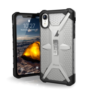 The Urban Armour Gear Plasma semi-transparent tough case in ice and black for the iPhone XR features a protective case with a brushed metal UAG logo insert for an amazing rugged and stylish design.