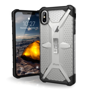 The Urban Armour Gear Plasma semi-transparent tough case in ice and black for the iPhone XS Max features a protective case with a brushed metal UAG logo insert for an amazing rugged and stylish design.