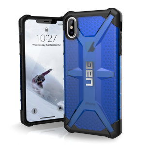 The Urban Armour Gear Plasma semi-transparent tough case in cobalt and black for the iPhone XS Max features a protective case with a brushed metal UAG logo insert for an amazing rugged and stylish design.