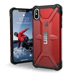 The Urban Armour Gear Plasma semi-transparent tough case in magma and black for the iPhone XS Max features a protective case with a brushed metal UAG logo insert for an amazing rugged and stylish design.