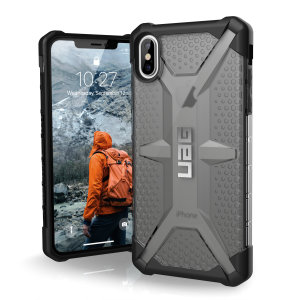 The Urban Armour Gear Plasma semi-transparent tough case in ash and black for the iPhone XS Max features a protective case with a brushed metal UAG logo insert for an amazing rugged and stylish design.