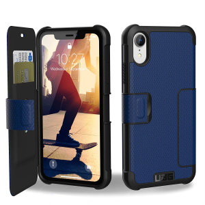 Equip your iPhone XR with extreme, military-grade protection and storage for cards with the Metropolis Rugged Wallet case in cobalt from UAG. Impact and water resistant this is the ideal way of protecting your phone and providing card storage.