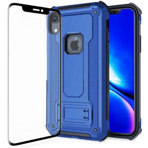 Statten Sie Ihren iPhone XR mit einem 360-Grad-Schutz aus mit diesem neuen schwarzen Olixar Manta Hülle und Glasschutz-Paket. Genießen Sie einen integrierten Kickstand, der für die Medienbesichtigung konzipiert ist, und ergänzen Sie gleichzeitig das futuristische und robuste Militärdesign der Hülle.