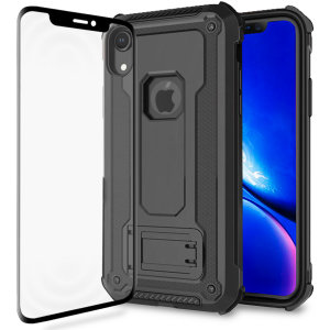 Equip your iPhone XR with a 360 degree protection with this new black Olixar Manta case & glass screen protector bundle. Enjoy a built-in kickstand designed for media viewing, whilst also compliments the case's futuristic & rugged military design.