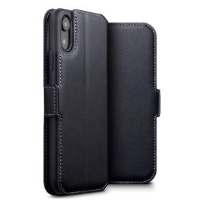 Lavish your iPhone XR with a luxurious flip wallet case. Featuring a black genuine leather exterior with beautiful stitching details, this Olixar wallet case will also store your credit and debit cards.