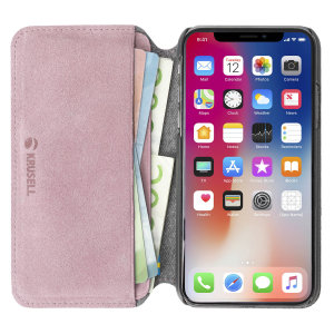 Krusell's Broby 4 Card Slim Wallet leather case in pink combines Nordic chic with Krusell's values of sustainable manufacturing for the socially-aware iPhone XS owner who seeks 360° protection with extra storage for cash and cards.