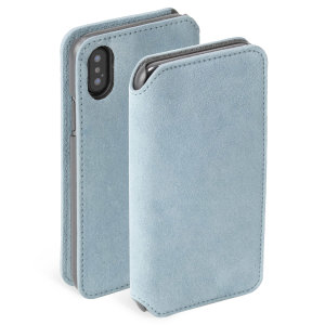 Krusell's Broby 4 Card Slim Wallet leather case in blue combines Nordic chic with Krusell's values of sustainable manufacturing for the socially-aware iPhone XS owner who seeks 360° protection with extra storage for cash and cards.
