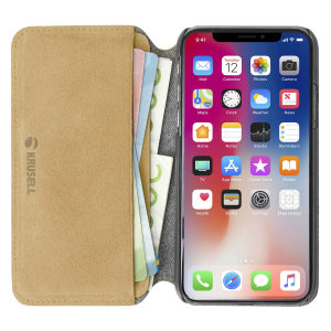 Krusell's Broby 4 Card Slim Wallet leather case in cognac combines Nordic chic with Krusell's values of sustainable manufacturing for the socially-aware iPhone XS owner who seeks 360° protection with extra storage for cash and cards.