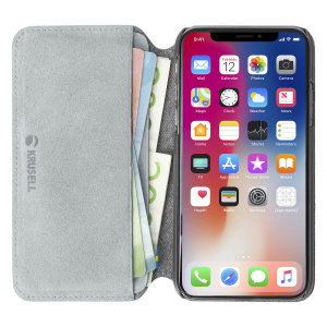 Krusell's Broby 4 Card Slim Wallet leather case in grey combines Nordic chic with Krusell's values of sustainable manufacturing for the socially-aware iPhone XR owner who seeks 360° protection with extra storage for cash and cards.