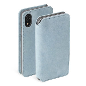 Krusell's Broby 4 Card Slim Wallet leather case in blue combines Nordic chic with Krusell's values of sustainable manufacturing for the socially-aware iPhone XR owner who seeks 360° protection with extra storage for cash and cards.
