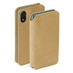 Krusell's Broby 4 Card Slim Wallet leather case in cognac combines Nordic chic with Krusell's values of sustainable manufacturing for the socially-aware iPhone XR owner who seeks 360° protection with extra storage for cash and cards.