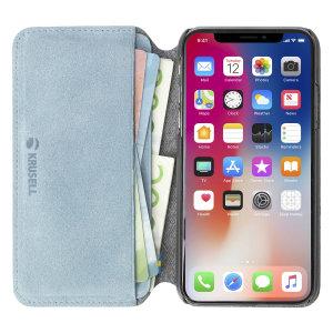 Krusell's Broby 4 Card Slim Wallet leather case in blue combines Nordic chic with Krusell's values of sustainable manufacturing for the socially-aware iPhone XS Max owner who seeks 360° protection with extra storage for cash and cards.