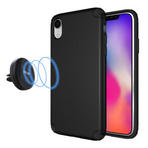 Hold your phone safely in your car while shielding it from damage with this Olixar Magnus magnetic car holder / protective case combo for your iPhone XR - in black.