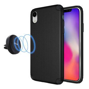Halten Sie Ihr Smartphone sicher im Auto, während es mit der Magnus Magnethalterung von Olixar und passender Schutzhülle für Ihr iPhone XR vor Schäden geschützt ist