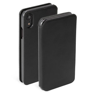 Krusell's Pixbo 4 Card Slim Wallet vegan leather case in black combines Nordic chic with Krusell's values of sustainable manufacturing for the socially-aware iPhone XR owner who seeks 360° protection with extra storage for cash and cards.