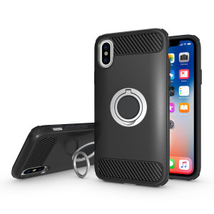 Made for the Apple iPhone X, this tough black ArmaRing case from Olixar provides extreme protection and a finger loop to keep your phone in your hand, whether from accidental drops or attempted theft. Also doubles as a stand.