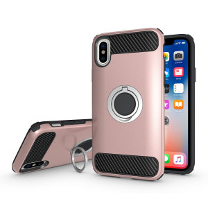 Made for the Apple iPhone X, this tough rose gold ArmaRing case from Olixar provides extreme protection and a finger loop to keep your phone in your hand, whether from accidental drops or attempted theft. Also doubles as a stand.