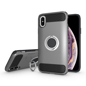 Olixar ArmaRing iPhone XS Finger Loop Tough Case - Silver