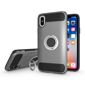 Made for the Apple iPhone X, this tough silver ArmaRing case from Olixar provides extreme protection and a finger loop to keep your phone in your hand, whether from accidental drops or attempted theft. Also doubles as a stand.