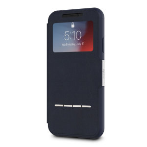 The Moshi SenseCover for the iPhone XR in Midnight Blue is a unique case with a touch sensitive cover that allows you to quickly view the time/date as well as answering calls without the need to open the case.