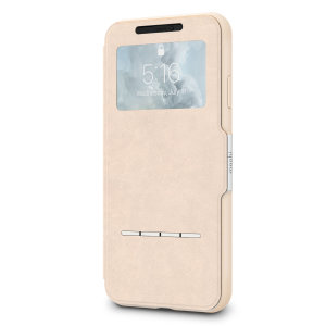 The Moshi SenseCover for the iPhone XS Max in Savanna Beige is a unique case with a touch sensitive cover that allows you to quickly view the time/date as well as answering calls without the need to open the case.
