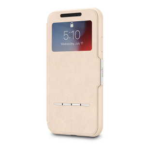 The Moshi SenseCover for the iPhone XR in Savanna Beige is a unique case with a touch sensitive cover that allows you to quickly view the time/date as well as answering calls without the need to open the case.