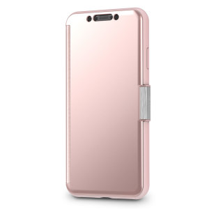 The Moshi StealthCover for the iPhone XS Max in Champagne Pink is a unique folio case with a Clear View cover that allows you to see who's calling, view notifications and see the time and date, all without opening your case.