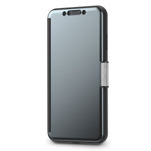 The Moshi StealthCover for the iPhone XS Max in Gunmetal Grey is a unique folio case with a Clear View cover that allows you to see who's calling, view notifications and see the time and date, all without opening your case.