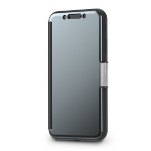 The Moshi StealthCover for the iPhone XR in Gunmetal Grey is a unique folio case with a Clear View cover that allows you to see who's calling, view notifications and see the time and date, all without opening your case.