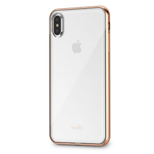 Safeguard your brand new iPhone XS Max from shocks, scrapes and drops while maintaining Apple's signature design with the clear and gold Vitros case from Moshi.