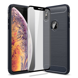 Flexible rugged casing with a premium matte finish non-slip carbon fibre and brushed metal design, the Olixar Sentinel case in blue keeps your iPhone XS protected from 360 degrees with the added bonus of a tempered glass screen protector