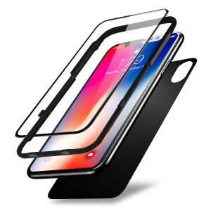 This pack of ultra-thin full cover tempered glass screen and back protectors for the iPhone XS from Olixar offers toughness, high visibility and sensitivity all in one package. For easy and perfect fitting, an installation guide is included.