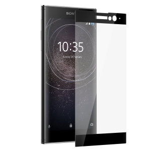 This ultra-thin tempered glass full cover screen protector for the Sony Xperia XA2 Plus from Olixar with black front offers toughness, high visibility and sensitivity all in one package.