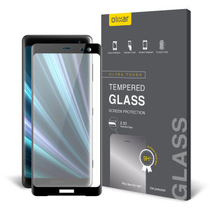 This ultra-thin tempered glass full cover screen protector for the Sony Xperia XZ3 from Olixar with black front offers toughness, high visibility and sensitivity all in one package.