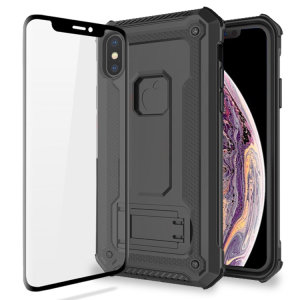Equip your iPhone XS Max with a 360 degree protection with this new black Olixar Manta case & glass screen protector bundle. Enjoy a built-in kickstand designed for media viewing, whilst also compliments the case's futuristic & rugged military design.